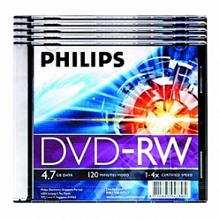 DVD-RW диски Philips, slim case